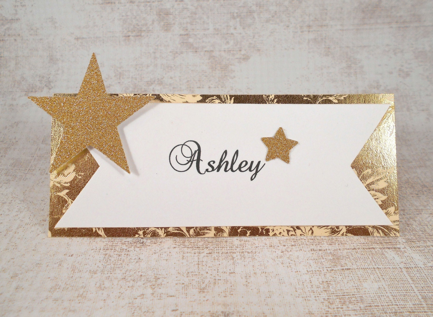 Place Cards Personalized Gold and White Wedding Name Cards