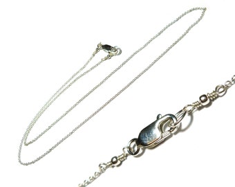 "18"" Sterling Silver 1.2 mm Cable Chain Necklace with Sterling Silver Lobster Clasp, 18 Inch"
