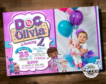 DOC MCSTUFFINS Photo BIRTHDAY Invitation, Doc McStuffins Party Ideas, Doc McStuffins Invitation, Printable Invitation, Pink Frosting Paperie
