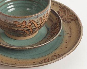Stoneware dishes, Set of three pieces, ceramic dishes, pottery dishes, dinnerware, ceramics and pottery, dinnerware, wedding gift, place set