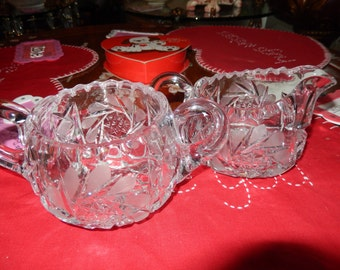 CUT GLASS CREAM and Sugar Set