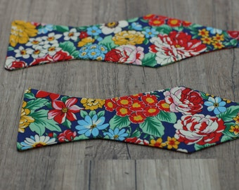 Handmade bow tie colorful  floral self tie freestyle colorful cotton bowtie