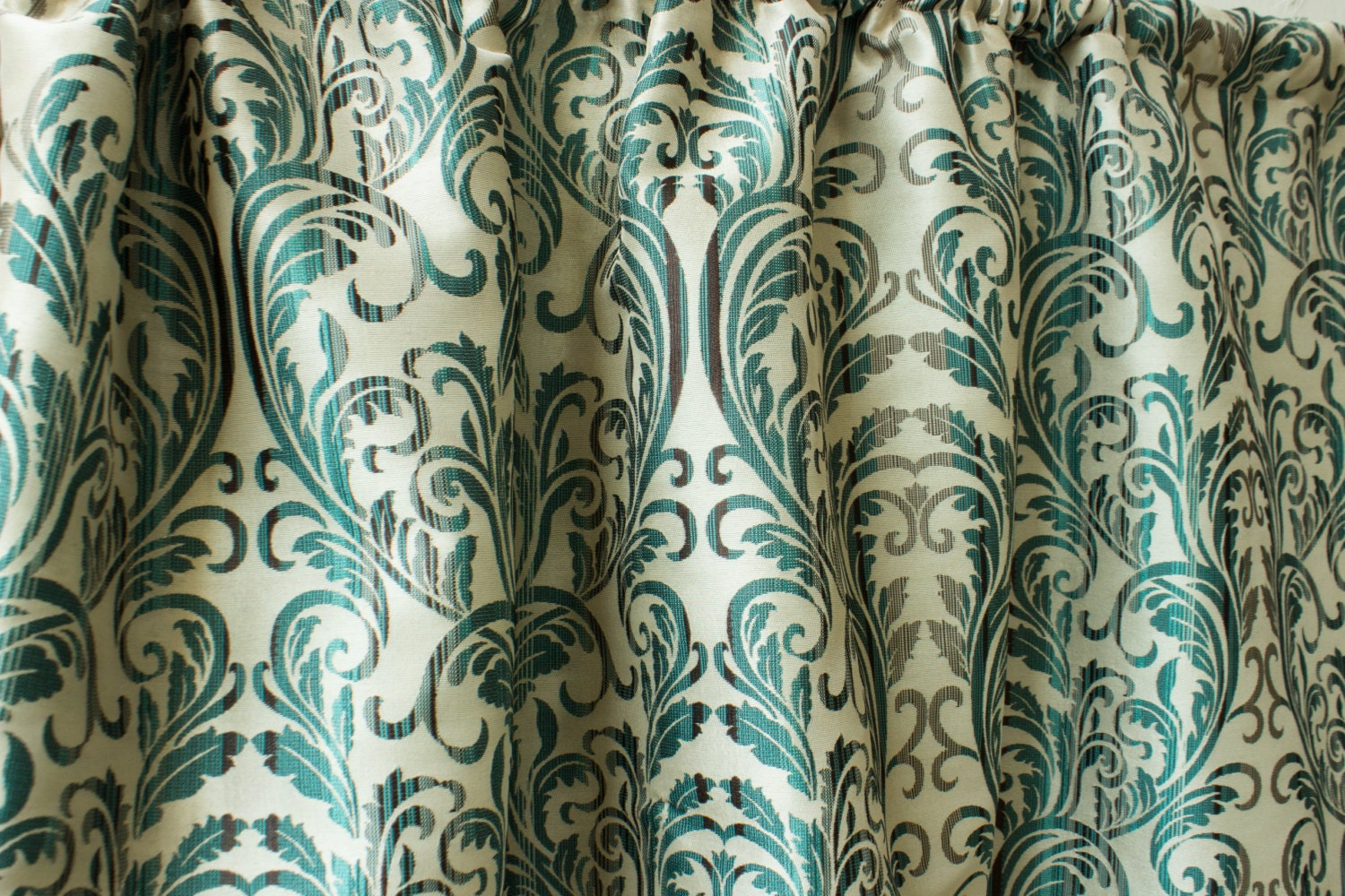 Teal silk damask curtain panels 50 beige gold red by for Red and gold drapes