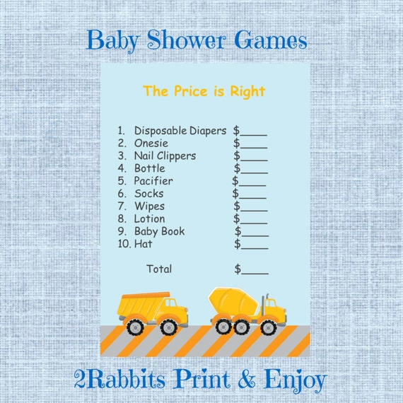boy baby shower the price is right game construction baby shower