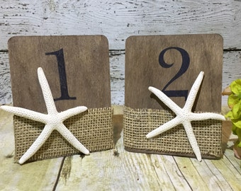 Starfish Table Numbers, Starfish Wedding Table Numbers, Beach Wedding Table Numbers, Nautical Wedding Table Numbers