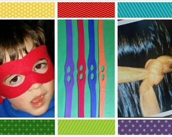 Super hero masks - Set of 15 - ninja turtle inspired masks - Assorted Colors
