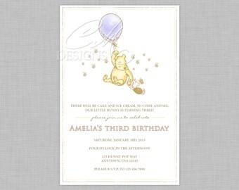 Classic Winnie The Pooh Inspired Birthday Invitation