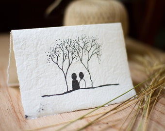 Card made from recycled handmade paper with Twin Trees design by Cliffwatcher