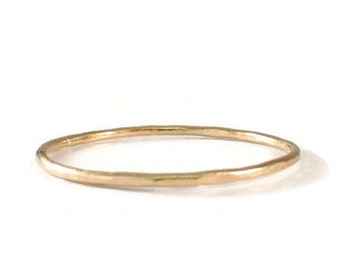 Hammered Stack ring, 14k Yellow Gold Filled, 14k Rose Gold Filled, Textured Ring, Thin Ring, Midi
