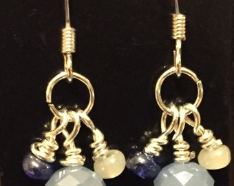 Glass drop earrings with blue glass rondel beads.