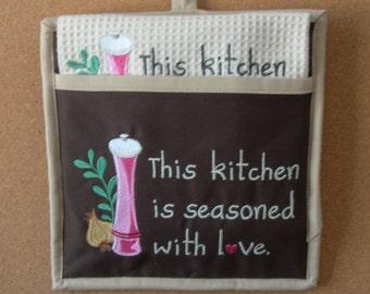 Embroidered Potholder Sets-Potholder & Towel Sets-Tea Towels-Pot Holder-Gift-Hostess Gift-Embroidered-Kitchen Sayings-Pocket Potholder Set
