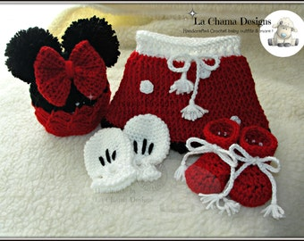 Minnie Mouse crochet outfit. Crochet outfit. Mickey Mouse outfit. Baby crochet outfit.