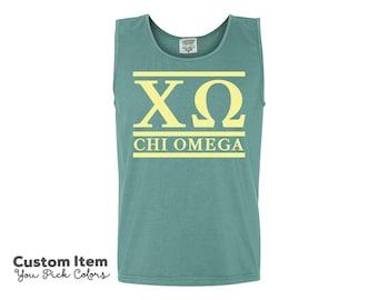 ChiO Chi Omega Custom Comfort Colors Classic Sorority Tank