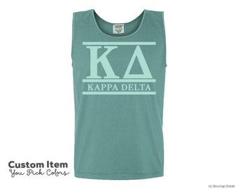 KD Kappa Delta Custom Comfort Colors Classic Sorority Tank