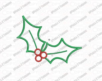 Holly and Berries Christmas Applique Embroidery Design in 3x3 4x4 and 5x7 Sizes