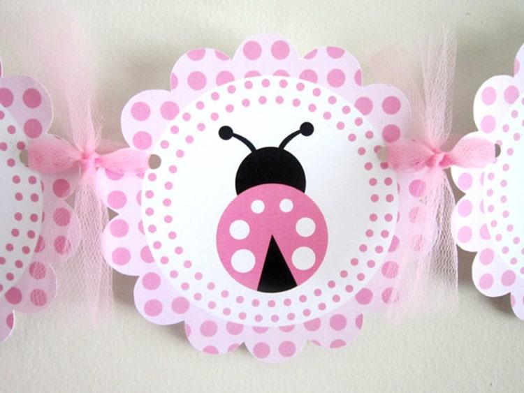 pink ladybug banner ladybug baby shower banner by craftycue