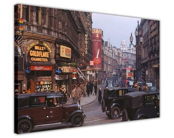 Colour Nostalgic 1950's London Canvas Wall Art Prints Home Decoration Framed Pictures Modern Art Poster
