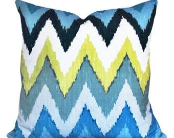 Schumacher Ikat Decorative Pillow Cover - Martyn Lawrence Bullard - Solid Back - 12x20, 14x24, 16x16, 18x18, 20x20, 22x22