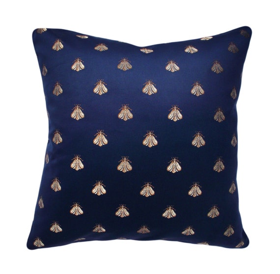 Gold Bee Navy Napoleon Decorative Pillow Cover by PillowTimeGirls