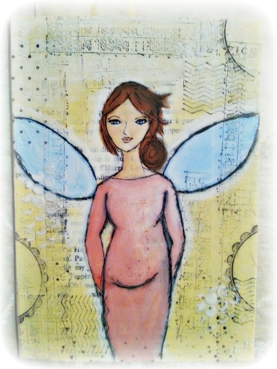 Handmade canvas Angel of Motherhood. Pregnant Beauty. Beautiful Gift for an Expecting Mom. Ready to Ship. Baby Shower Gift. Mothers Day Gift