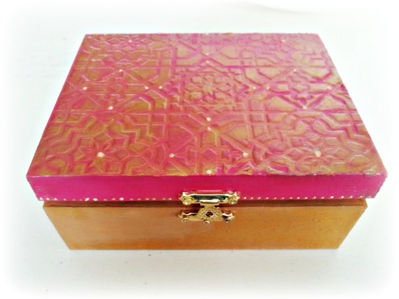 Indian Jewellery or Trinket Box. Tarot Card Storage. Wooden, Ornate, Ready to Ship. Layered with Paint and Hardware.Pink and Gold