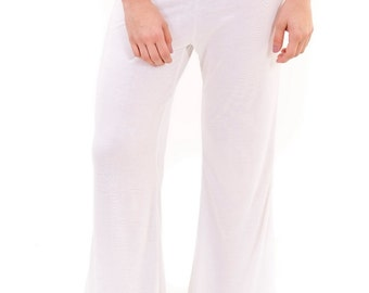 Womens Jersy Bamboo Kundalini yoga pants in white