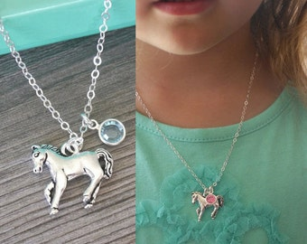 Little Girls Horse Necklace, Girls Birthstone Horse Necklace, Personalized Horse Necklace for Girls, Cute Necklace for Niece Daughter, CCB
