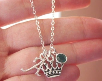 Little Princess Necklace, Personalized Princess Crown Necklace, Letter A, May Emerald, Crown Necklace, Princess Jewelry, Silver, Custom