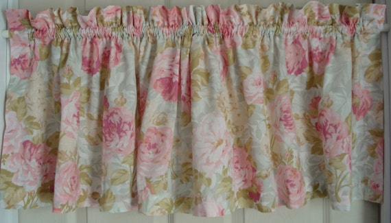 Curtain valance martha stewart everyday pink rose on blue green