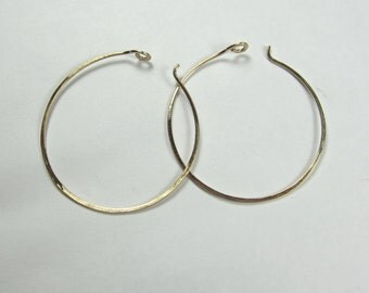Solid Gold Hoop Earrings|14K Recycled Yellow Gold|Modern, Boho|Eco Friendly|Ethical