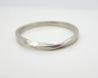 White Gold Mobius Strip Ring| Eternity Ring| 14K Recycled White Gold| Skinny Mobius Ring| Eco Friendly| Ethical