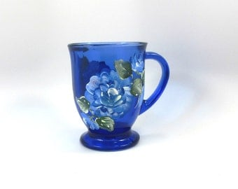 16 ounce Cobalt Blue coffee mug with matching Cobalt Blue roses
