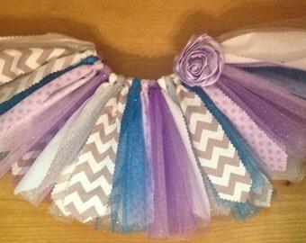 Purple, Turquoise, Silver, and Grey Scrap Fabric Tutu