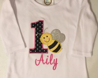 Pink Bumble Bee Birthday Baby Bodysuit or Shirt