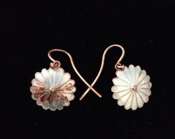 Vintage Silver Blue Celluloid Flower Dangle Earrings