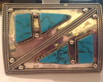Vintage Zuni Native American Silver and Turquoise Bow Guard Signed