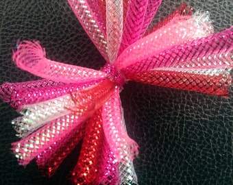 Pink, red, and white mesh hair bow