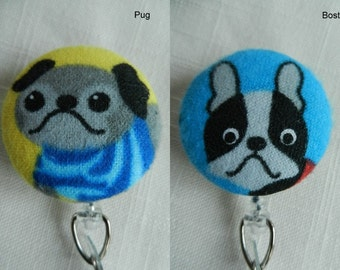 Colorful Pug and Boston Terrier dogs~  Retractable ID, Name badge Holder Reels