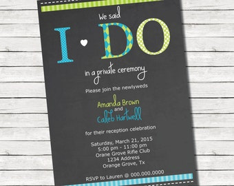 5x7 I Do - Reception Only Wedding Invitation - PRINT AT HOME