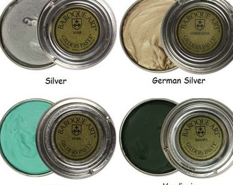 Gilders Paste, Choose Silver, German Silver, Patina, or Verdigris Baroque Art Gilders Paste Wax Polish Patina, For Metal Wood Resin Ceramics