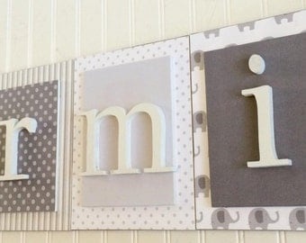 Nursery letters, Gray Elephant Nursery, Boys Elephant Nursery, Boys Nursery Decor Ideas, Wooden Wall Letters, Hanging Wall Letters, Boys Art