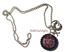 """Michael Clifford Inspired """"Idiot"""" Bottle Cap Charm Necklace"""