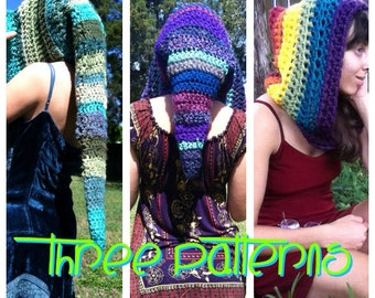 PATTERN: 3-Pack of Pixie Hoods, Long, Mid-Length and Pointed