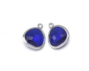 Cobalt Blue Glass Pendant . Jewelry Craft Supplies . Polished Original Rhodium Plated over Brass  / 2 Pcs - AG001-PR-CB
