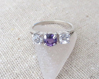 USA Amethyst and White Topaz Genuine Natural Three Stone Ring set in Sterling Silver - One of a Kind R480