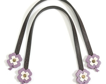 "16.3"" byhands Genuine Leather Brown Purse Handles with Purple Flower (20-4301-B)"