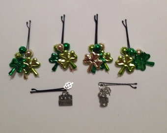 Beard Art Baubles St Patrick's Day Shamrock Hipster Gift Set 6 High Gloss Handmade Baubles with Ultra Mini Pins