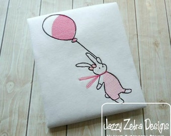 Bunny with Balloon Sketch Embroidery Design