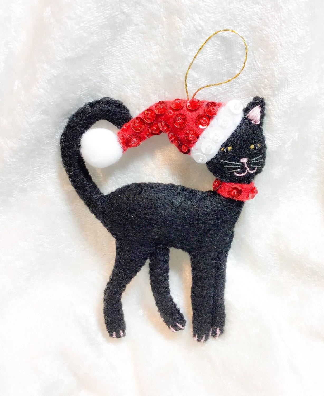 Cat in the hat ornaments - Black Felt Cat Christmas Decoration Christmas Tree Decor Festive Ornaments Kitten In Santa