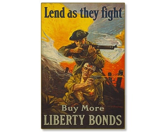 "Lend As They Fight Liberty Bonds WW1 Large Metal Wall Decor Vintage World War 1 Propaganda Poster Art 24x36"" STEEL Sign [not tin ]R000032-12"
